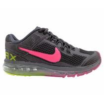 Tênis Feminino Nike Air Max 2013 Preto E Pink Original