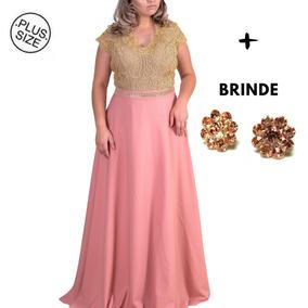 Vestido Festa Plus Size Feito Sob. Medida + Brinde Brinco To
