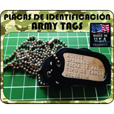 Placa Identificacion Militar Army Tags Color Brillante