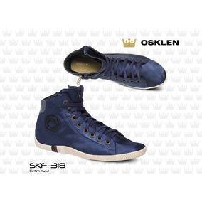 Bota Arpoador Em Cetim Azul Feminina Osklen - Original