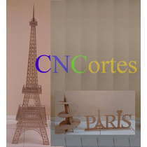 Kit Paris Torre Eiffel 2 Metros + 1 Porta Doce + Paris Mdf