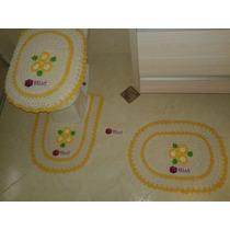 Jogo Kit Conjunto Banheiro Tapete Tampa Vaso Crochê 3 Peças