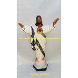 Imagem Jesus Cristo Oxala Abençoando Estatua 60cm Roupa Br