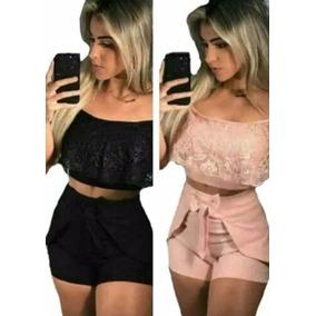 Roupas Femininas Conjunto Cropped E Short Curto Promoção