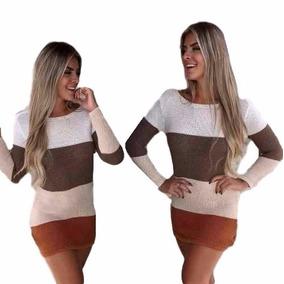 Vestidos Femininos Tricot Crochê Maga Longa Modelo 2017