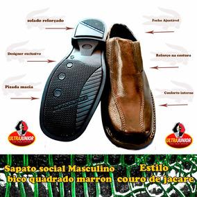 Sapato Social Bico Quadrado Couro Estilo Jacare Marron Café