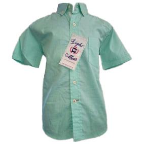 Camisa De Niño Cuadritos Verde Manga Corta