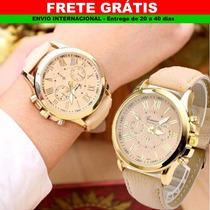 Relógio Feminino Quartzo Geneva Analógico Inox, Rosa Dourado