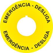Placa Auto Adesiva Para Botões Emergência 22mm