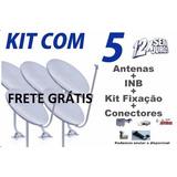 Kit 5 Antenas Banda Ku 60 Cm + Lnb Hd + 100m Cabo