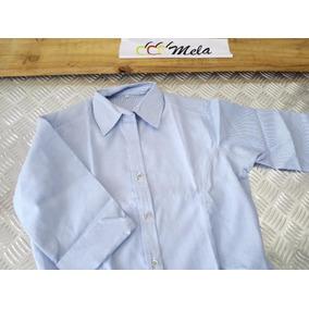 Camisa D Dama Manga 3/4 En Oxford Mil Rayas Azul Celeste T-l