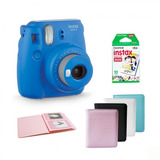 Kit Cámara Instax Mini 9 Azul Cobalto Con Papel Y Album