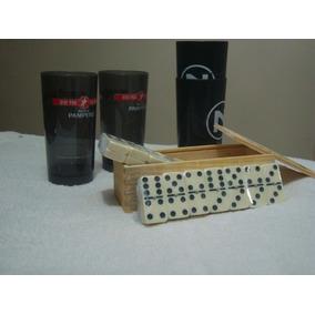 Juego De Domino En Caja De Madera Y 2 Vasos De Promoción