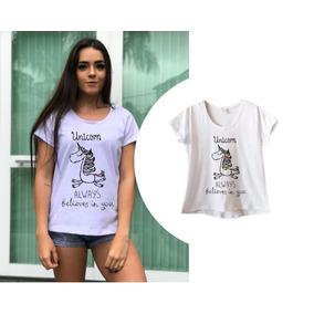 Camisetas Femininas Unicórnio Blusa Baby Look Unicorn 1c0f213f28fd1