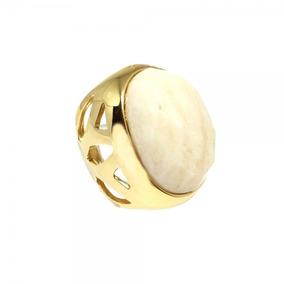 Anel Quartzo Marfim Vazado Semi Joia Banhado À Ouro