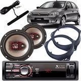 Kit Som Corsa Hatch Aparelho Usb Antena Alto Falante Suporte
