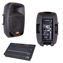 Kit Caixa Ativa Bluetooth 10 + Passiva 10 + Mesa Som 12 C