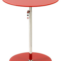 Mesa De Centro Radinka , Red Printed Glass And Stainless Ste