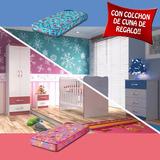 Juego Dormitorio Infantil Cuna Cajonera Ropero Mesa Colchon