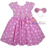 Vestido Fantasia Infantil Festa Minnie Rosa E Tiara Orelhas