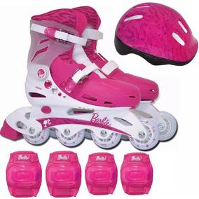 Patins Infantil Barbie Ajustável N°33 A 36 Com Kit Proteção