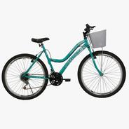 Bicicleta Feminina Athor Musa Aro 26 18 Machas Com Cestão