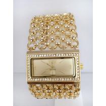 Relógio Feminino Dourado De Luxo Frete Grátis