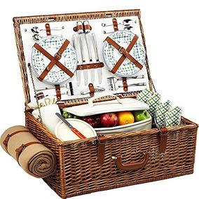 Picnic En Ascot Dorset Inglés-estilo Willow Cesta De Picnic