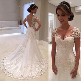Lindo Vestido De Noiva Sereia Manga Curta