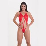 Body Com Renda Sensual Deslumbrante Linha Fogo E Paixão Red