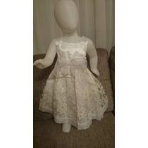 Vestido Bebê Festa Princesa Tecido Forrado Criança Branco