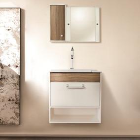 Conjunto De Banheiro Dubai 55x32 Cm Com Balcão, Cuba E