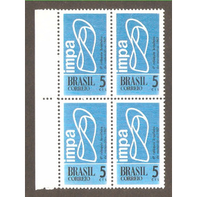 Quadra Brasil Marmorizado, Mint. Selo Rhm C-574y, 1967.