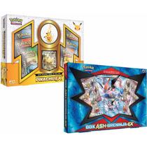 2 Box Pokémon Boneco Pikachu-ex + Ash-greninja-ex Cards