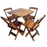 Jogo De Mesa 70x70 C/4 Cadeiras Madeira Dobrável Bar Imbuia