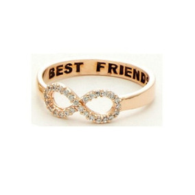 Anel Best Friend Infinito Rosê Com Strass