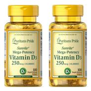 2 Vitamina D3 10.000 Ui Puritan's Pride 100 Softgels