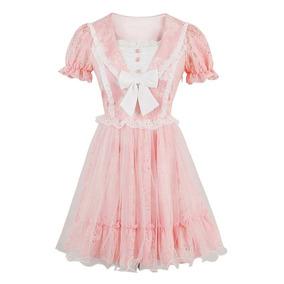 Vestido Candy Rain Lolita Rosa Verão Cute Style Princesa