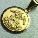 Medalla De San Miguel Arcangel Oro 18 K.12 Mm Diametro