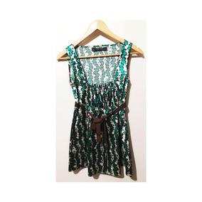 Blusa Zara Poa Vintage Verde Cetim P