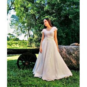 Vestido Longo Noiva Godê Duplo Mangas Curtas Renda Casamento