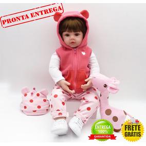 Boneca Bebê Reborn 60cm + Girafa De Brinde - Pronta Entrega