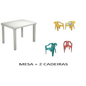 Kit Bambine Mesa Infantil Desmontável 66x46 + 2 Cadeiras