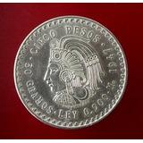 Moneda Cuahutemoc 5 Pesos 1947 Plata Ley .900