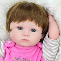 Bebê Silicone Suave Realista Reborn Cabelos Curtos