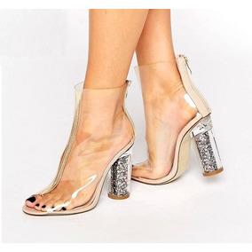 Bota Transparente Salto Com Glitter Acrilico Kardashian