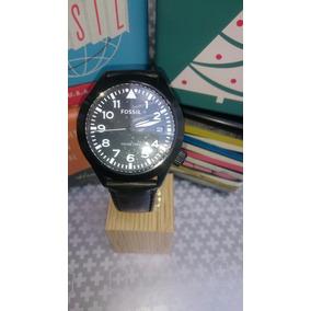 Reloj Fossil Caballero Correa De Cuero Negro Fechador