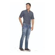 Jean Hombre Lycrado Bota Recta Cromo Jeans