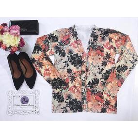 Blusa De Frio Feminina Casaco Cardigan Estampado Floral