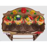 Porta Papel Toalha E Potes De Temperos Decorado Em Biscuit